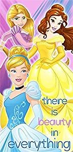 S&L Home Fashion Disney Princess Cinderella, Belle, and Rapunzel Clubhouse Fiber Reactive Beach Towel - Sunbeam