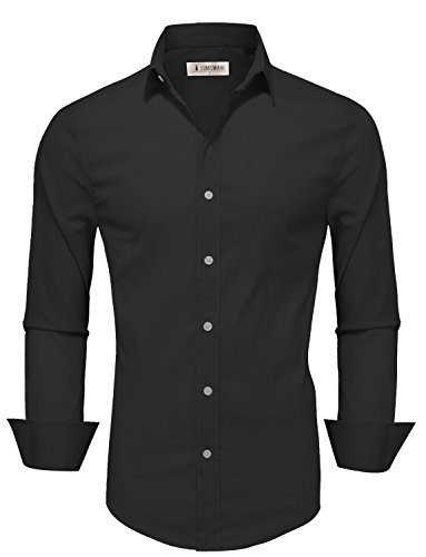 TAM WARE Mens Casual Slim Fit Basic Dress Shirts