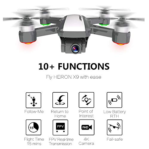 4K GPS Drone, JJRC Heron X9 Uptaded Camera with 2-Axis Gimbal 5G WiFi RC Quadcopter with Follow Me, Smart Return Home