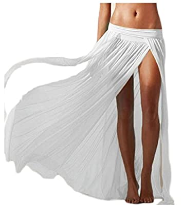 WSPLYSPJY Women's Print Side Slit Sheer Chiffon Maxi Skirt Beach Cover Ups