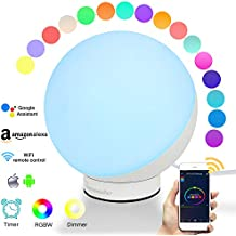 Shayson Smart Table Lamp, Multicolored Changing LED RGBW Night Light, Dimmable Bedside Table Lamp, WiFi Control, Timer, Compatible with Amazon Alexa and Google Assistant