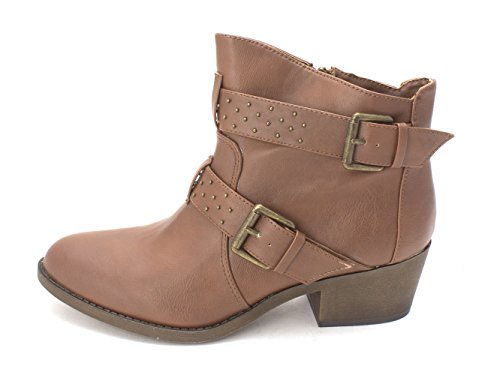 Almond Fashion COGNAC Leather Bravo Boots Girl Womens Material Toe Ankle zn0aIxqwTw