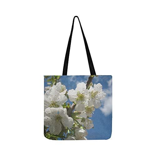 (Cherry Blossom Blossom Bloom White Sunny Spring Canvas Tote Handbag Shoulder Bag Crossbody Bags Purses For Men And Women Shopping Tote)