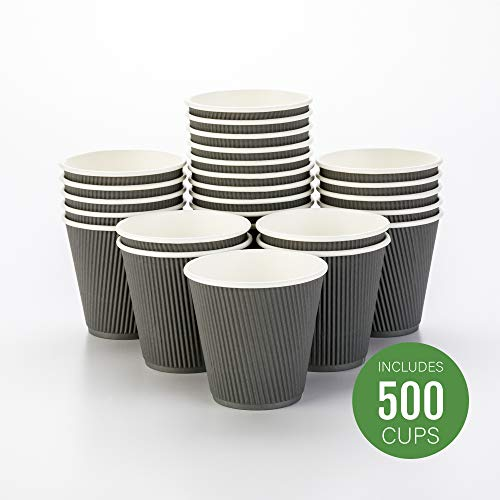 500-CT Disposable Gray 8-OZ Hot Beverage Cups with Ripple Wall Design: No Need for Sleeves - Perfect for Cafes - Eco-Friendly Recyclable Paper - Insulated - Wholesale Takeout Coffee Cup (Of Stack Cups Coffee)