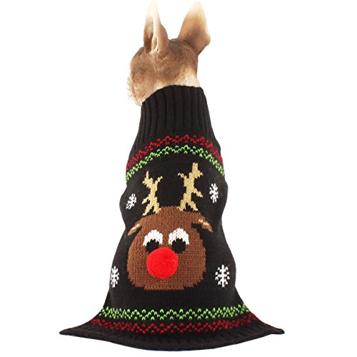 HAPEE Dog Sweaters for Christmas Santa Pet Cat Clothes,Dog Accessories, Dog Apparel (Red Nose, XL)