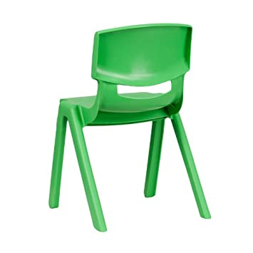 Flash Furniture Green Plastic Stackable School Chair with 13.25 Seat Height