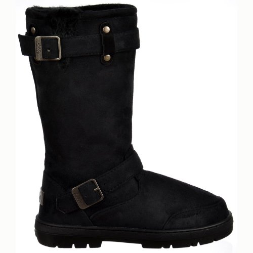 Biker Boot Flat Lined Snow Black Fur Winter rqU0xwr4