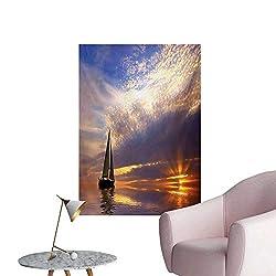Anzhutwelve Sailboat Photographic Wallpaper Sailing with Sunset Sunbeams on The Horizon Romance Honeymoon DestinationMarigold Bluegrey W24 xL36 Art Poster