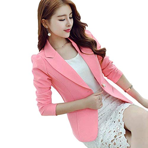 Blazer Ufficio Business Autunno Da Manica Fit Tailleur Button Rosa gpXwqd5O