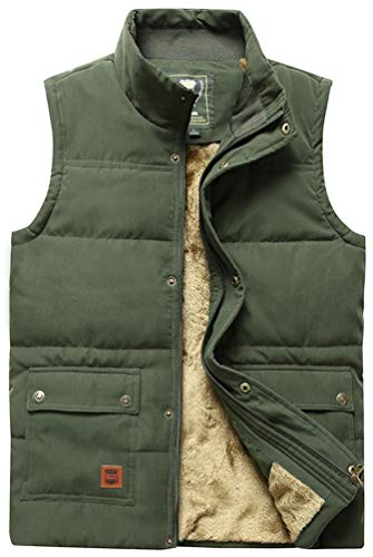 (Vcansion Men's Outdoor Casual Stand Collar Thicken Qulited Fleece Jacket Vest Padded Vest Lightweight Down Cotton Vest Coat Army Green US L)
