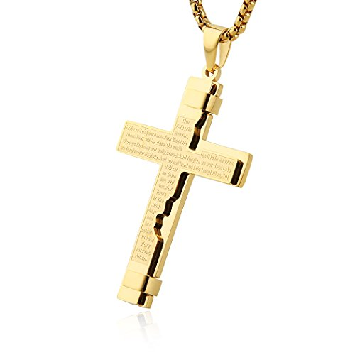 (HZMAN Religion Cross Lord's Prayer Stainless Steel Pendant Necklace Rolo Cable Wheat Chain (Gold))