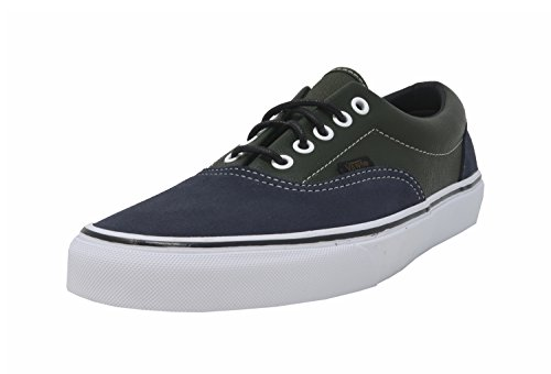 Vans Men's Shoes Era Navy Blue Suede/Green Leather Fashion Sneakers - Era Navy Vans