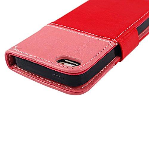 Smile Lächeln Design Flip Cover Leder Case Schutzhülle für Iphone 5 5S 5G Tasche Hülle Handytasche Etui Schale Backcover mit Standfunktion Kredit Kartenfächer (rot + pink)