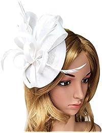 7a555412b41ae Women s Fascinator Hat Imitation Sinamay Feather Tea Party Pillbox Flower  Derby