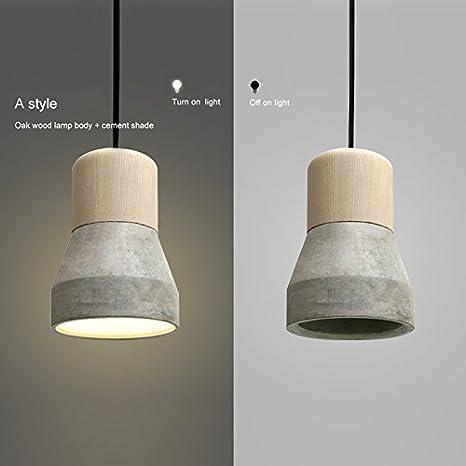 OAKLIGHTING Cement Modern Pendant Light Fixture Wood Ceiling Lamp ...