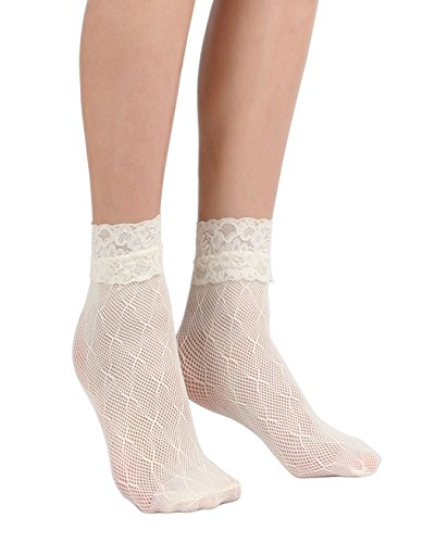 - Women's Lace Ankle Socks (One Size : Regular, X Mesh - Ivory 3pair)