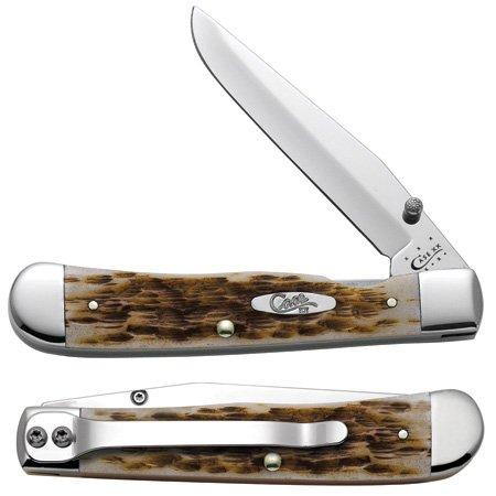 Case Amber Bone CV Trapperlock Pocket Knife with Clip