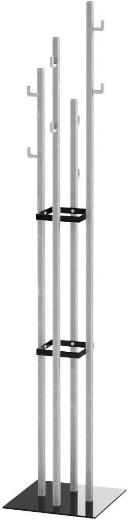 Haku Möbel Perchero - acabado de acero inoxidable / negro con 8 ganchos, altura 180 cm