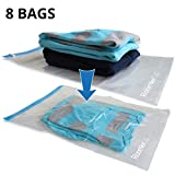 RoomierLife Travel Space Saver Bags (Medium to Large). Pack of 8 Bags. Roll-Up Compression Storage (No Vacuum Needed) & Packing Organizers. Perfect for Travel and Home Storage