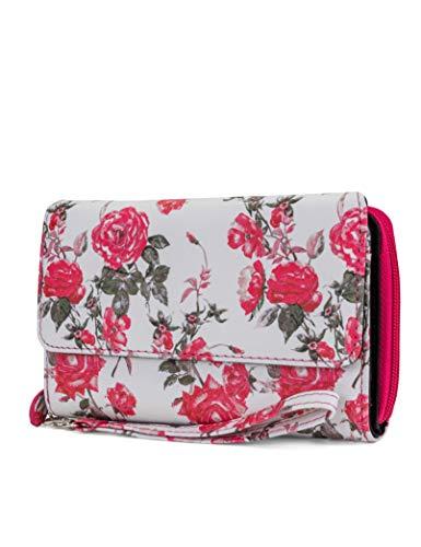 - MUNDI Big Fat Womens RFID Blocking Wallet Clutch Organizer Removable Wristlet (Rose Floral)