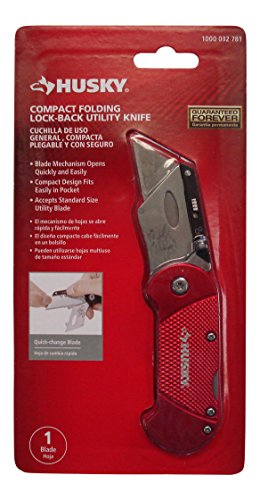 Husky 2.4 in. Compact Folding Lock-Back Utility Knife-Red