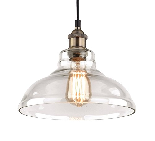 Pendant Light Fixture - 11 inch diameter - Vintage Industrial Loft Style Chandelier - Hanging Edison Glass Ceiling Mounted - Great lighting fixture for bathroom, dining bedroom, kitchen (Kitchen Lighting Fixtures Hanging)
