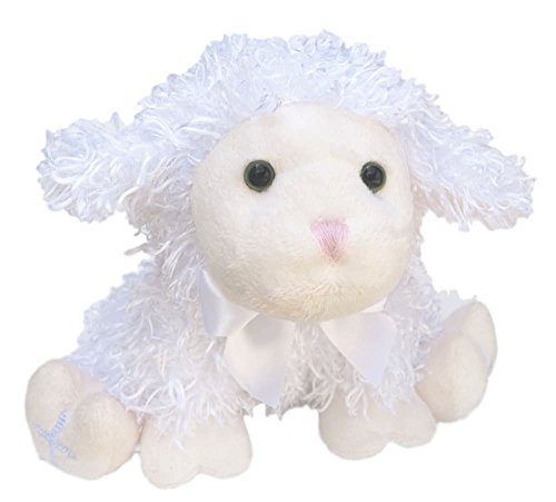 (Baby Luvvy Lamb Stuffed Animal Plush Toy | Cute Embroidered Cross on Feet | Keepsake Gift for Baptism or Christening  | Boys or Girls | Soft Sheep Stuffed Animal for Christmas, Birthday, Easter  )
