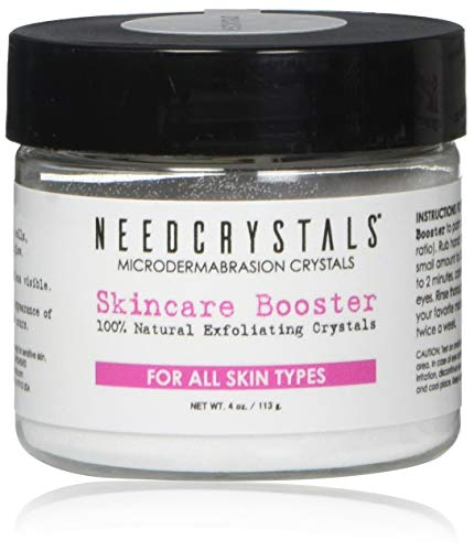NeedCrystals Microdermabrasion Crystals, DIY Face Scrub. Natural Facial Exfoliator for Dull or Dry Skin Improves Acne Scars, Blackheads, Pore Size, Wrinkles, Blemishes & Skin Texture. 4 oz