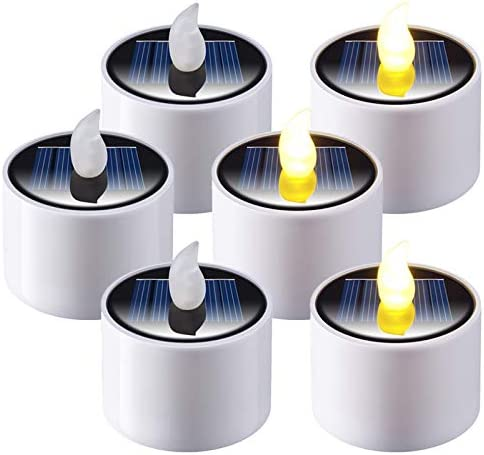 LED Solar Tea Lights, Yme 6pcs Dusk to Dawn Waterproof Flameless Candles Flickering Battery Operated Tealights for Home Festival Indoor Outdoor Decoration, Warm White