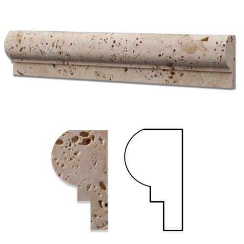 Ivory Travertine Honed 2 1/4 X 12 Palermo Molding - Standard Quality - BOX of 10 PCS