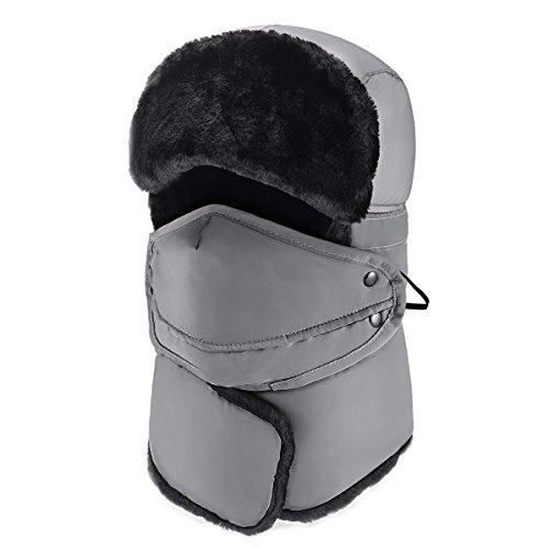 Mysuntown 2017 New Style Unisex Winter Trooper Trapper Hunting Hat Ushanka Ear Flap Chin Strap and Windproof Mask(Gray (Cool Halloween Mask Designs)