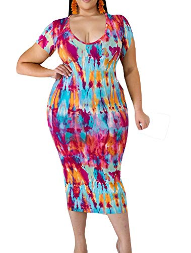 (Bodycon Dress Plus Size Floral Short Sleeve Midi Club Dresses Red 3X 22W 24W)