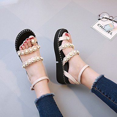 RUGAI-UE Moda de Verano Mujer sandalias casuales zapatos de tacones PU Confort,Negro,US8 / UE39 / UK6 / CN39 Beige