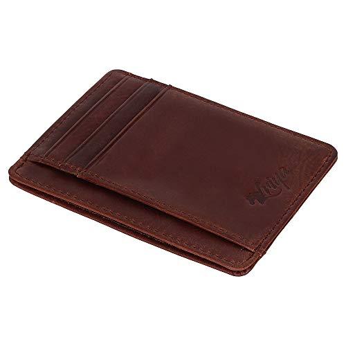 Leather Wallets for Men & Women - RFID Blocking Super Slim Minimalist Design Front Pocket Wallet