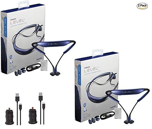 2x Pack - Samsung Level U Neckband Bluetooth with 2x Universal 1Amp Car Charger - (Retail Packing) (Samsung Galaxy Gear Circle)