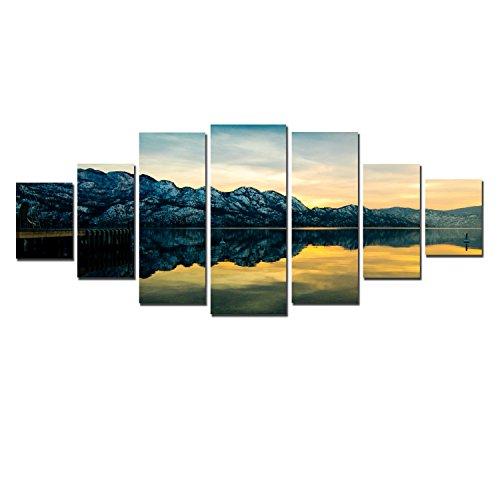 Startonight Huge Canvas Wall Art Mirror Lake, USA Large Home Decor, Dual View Surprise Artwork Modern Framed Wall Art Set of 7 Panels Total 39.37 x 94.49 inch by Startonight