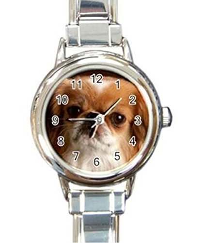 Pekingese Puppy Dog Custom Womens Round Charm Wrist Watch
