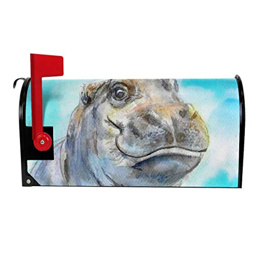 - VIVIAN RICE Vinyl Magnetic Mailbox Cover Watercolor Baby Hippo Wraps Post Letter Box Covers Garden Decor,Standard Size