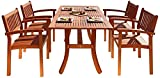 Malibu V187SET3 Eco-Friendly 5 Piece Wood Outdoor Dining Set with Rectangular Curvy Table and Stacking Chairs