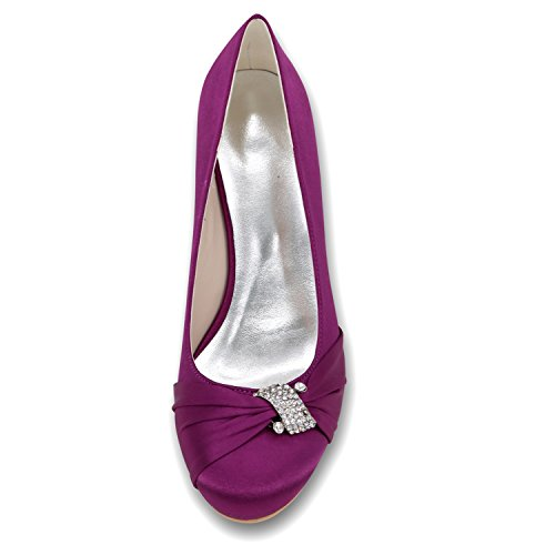 Elobaby Vestito in Tacco Lady Purple da 5cm Slope Party6 Nuziale New Sera Donna Scarpe Raso metà Sposa rZgHxrqwC
