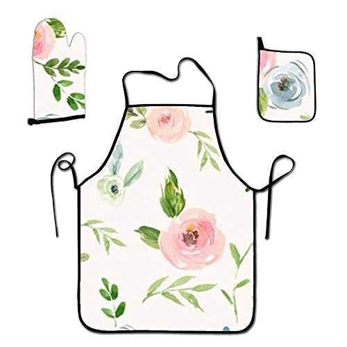 - BYEPLMJ Personalized Cooking Apron Sets-Pink Flowers Kitchen Apron,Glove,and Potholder Set,Women and Men,for Cooking Baking Garden one Size White
