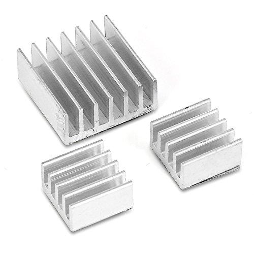 Aukru 3er Set Alu Kühlkörper in verschiedenen Größen für Raspberry Pi 3 Model B Raspberry pi 2 Model B zum Aufkleben