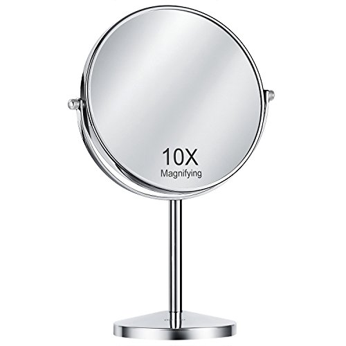 Oak Leaf Double-Sided Magnifying Makeup Mirror, 1x/10X Magnification Tabletop Swivel Vanity Mirror, 8 Inch by Oak Leaf