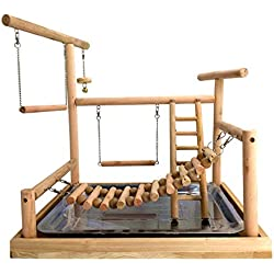 Mrli Pet Large Parrots Playstand Bird Playground Wood Perch Gym Stand Playpen Bird Ladders Exercise Playgym with Feeder Cups for Electus Cockatoo Parakeet Conure Cockatiel Exercise Toy