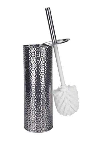 Home Basics Hammered Stainless Steel Toilet Brush with Hygienic Holder, for Bathroom Storage - Sturdy, Deep Cleaning, Silver