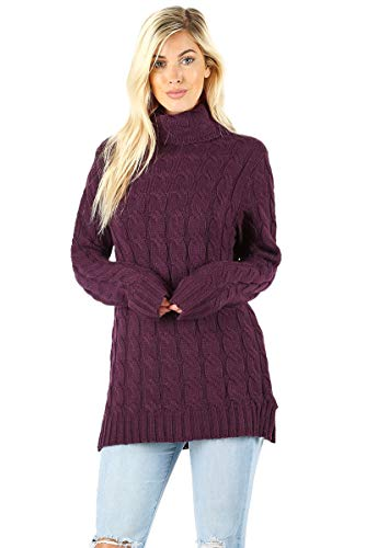 Sweaters for Women Turtle Cowl Neck Ribbed Cable Long Sleeve Acrylic Knit Jumper-Dark Plum (Medium) ()