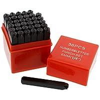 ABN Metal Large 1/4in Stamping 36-Piece Tool Kit – Alphabet, Numbers, Symbols Steel Embossing & Engraving Stamp Set