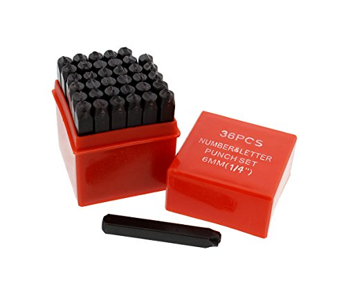 Metal Stamps - ABN Metal Large 1/4in Stamping 36-Piece Tool Kit - Alphabet, Numbers, Symbols Steel Embossing & Engraving Stamp Set