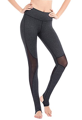 YIANNA Yoga Pants, Women's Mesh Panel Side Barre Stirrup Leggings Inner Pocket Workout Running Pants 4 Way Stretch Non See-Through Fabric, YA4007-Dark Grey-12 (Inner Mesh Pockets)