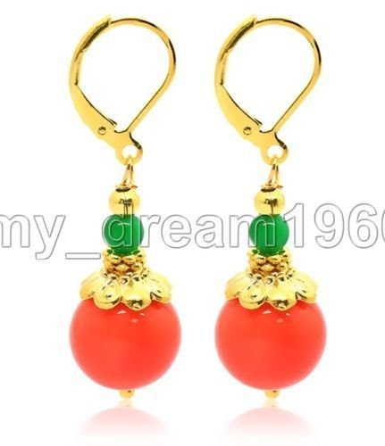 5. Orange Jade Beautiful Natural Gemstone 14K Gold Plated Leverback Earrings